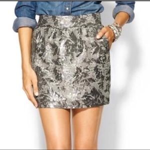 NWT Tinley Road silver brocade mini skirt small